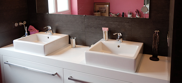 Photo de la rénovation d'une salle de bain par la société Sabeko