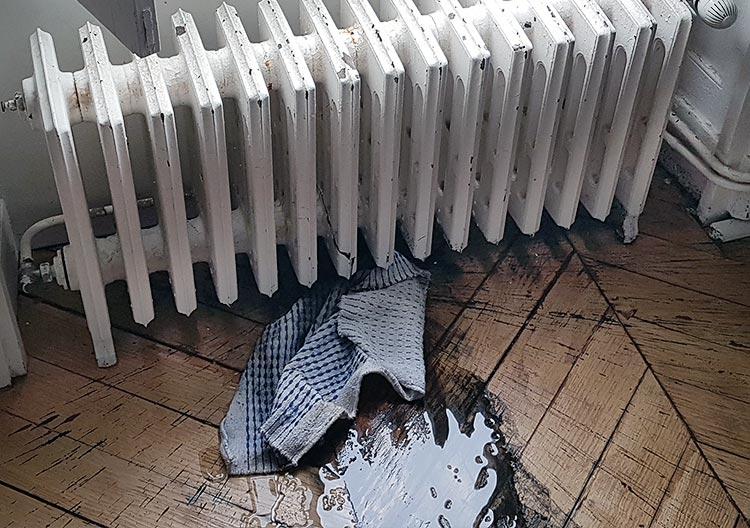 Fuite urgente sur un radiateur